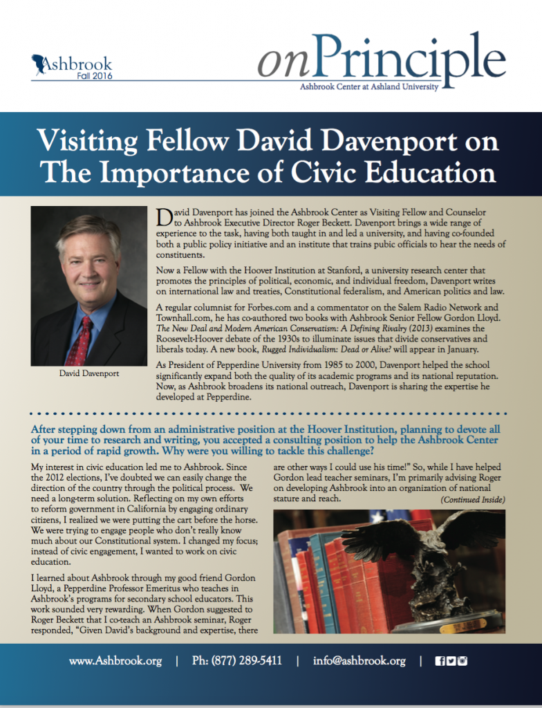 Visiting Fellow David Davenport on The Importance of Civic Education
