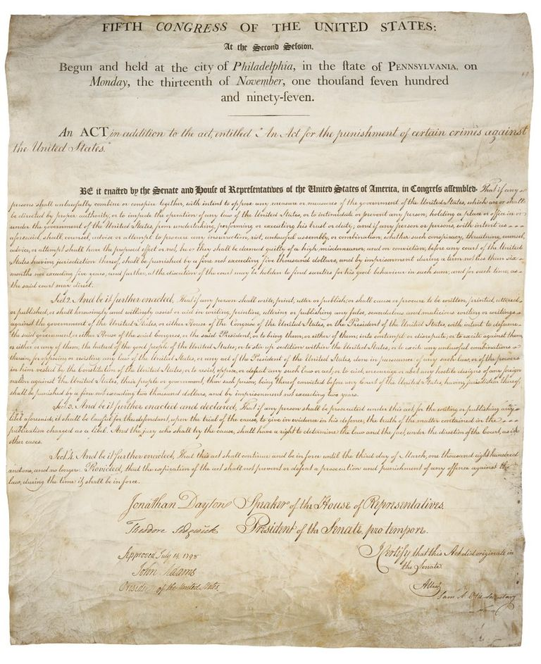 False, Scandalous, and Malicious: Freedom of Speech and the Constitutional Crisis of the Alien and Sedition Acts